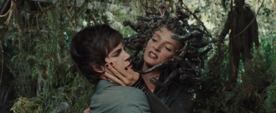 A scene from the Percy Jackson movie. Medusa is attempting to seduce Percy.